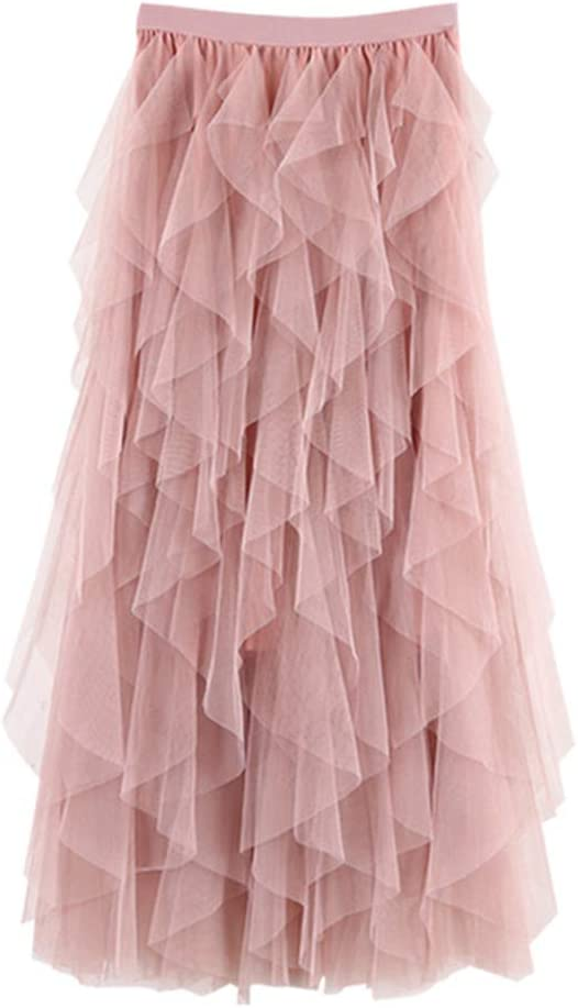 Amazon Com Women S Tulle Skirt A Line Layered Formal High Low Asymmetrical For Prom Party Petticoat Dance Elastic Waist Skirt Tutu Kitchen Dining