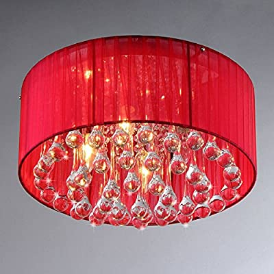 Whse of Tiffany RL7924A-3 'Erinyes' Red Shaded Crystal Chrome Ceiling Lamp