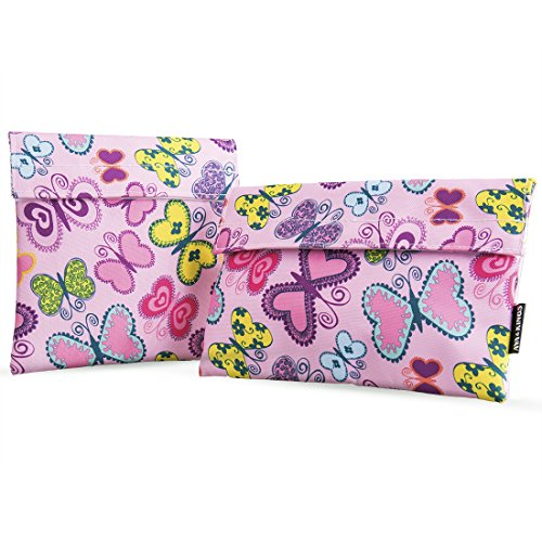 Ava & Kings 2pc Eco Friendly Reusable Snack Bags Sandwich Wrap w/ Insulated Fabric - Great for School Lunch, Work, Picnic Food, Boys & Girls - Sizes: 7x7 in & 6x9 in - Pink Butterfly