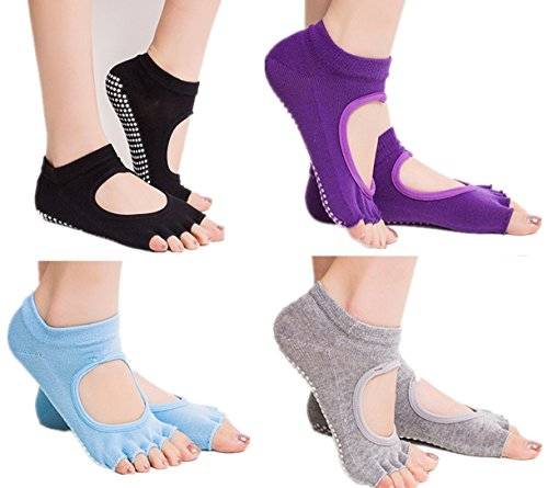 AYAOQIANG 5 Pairs Yoga Socks for Women & Men (Black+Purple+Gray+Blue)