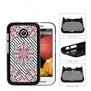 Red Victoria Damask With Black Stripes Hard Plastic Snap On Cell Phone Case Motorola Moto E