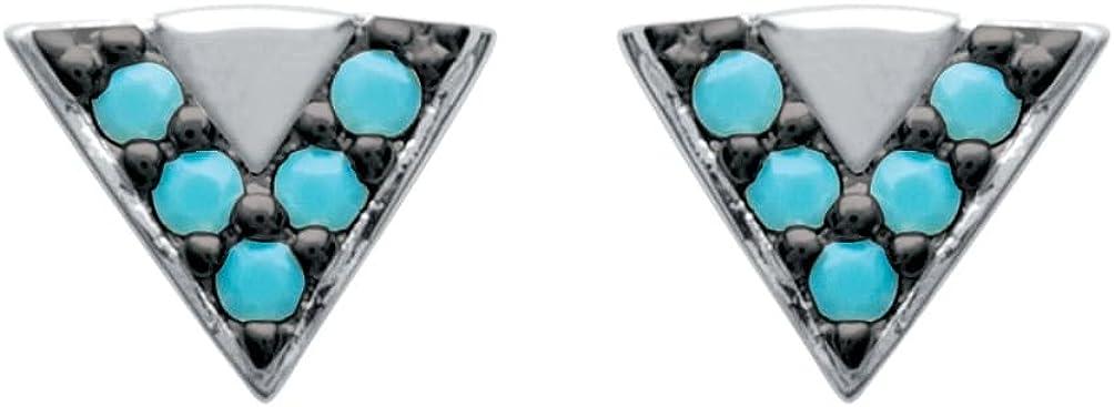 So Chic Joyas© pendientes para mujer triángulo piedras negras & azul turquesa plata 925