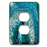 3dRose (lsp_266902_6) 2 Plug Outlet Cover (6) 2 Luxury Aqua Blue Marble Agate Gem Mineral Stone
