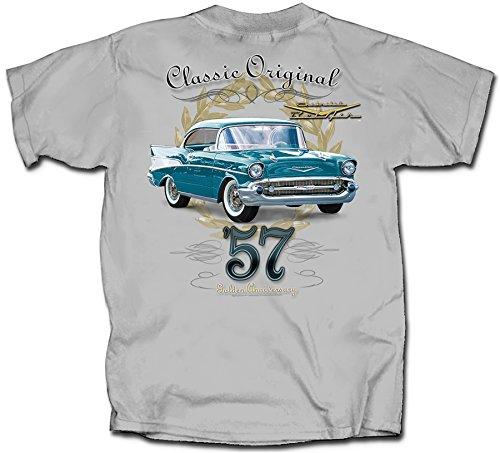(Gildan Men's Chevrolet Bel Air 50th Anniversary T-Shirt, Small, Ice)