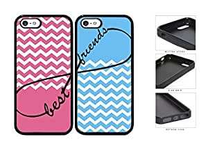 Pink Blue Matching Chevron Best Friends Set Rubber Silicone TPU Cell Phone Case Apple iPhone 5 5s