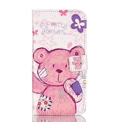 PowerQ Multi buntes Muster Serie PU-Kunstleder Fall Hülle Holster Case < Bear with patch | für IPhone6SPlus IPhone 6SPlus 6Plus IPhone6Plus >           mit schönen hübschen Muster Druck Detailzeichnung Geldbörs