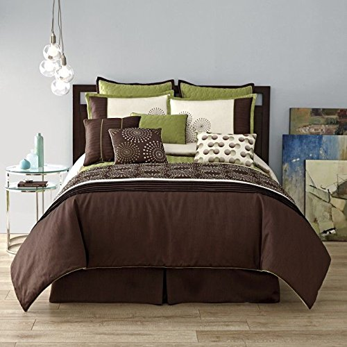 SALE - 10 Piece Modern GALAXY Bedding QUEEN size Pinch Pleat Fine Embroidered Comforter Set in Sage Green / Chocolate Brown / Cream - Bed in a Bag set with accent pillows