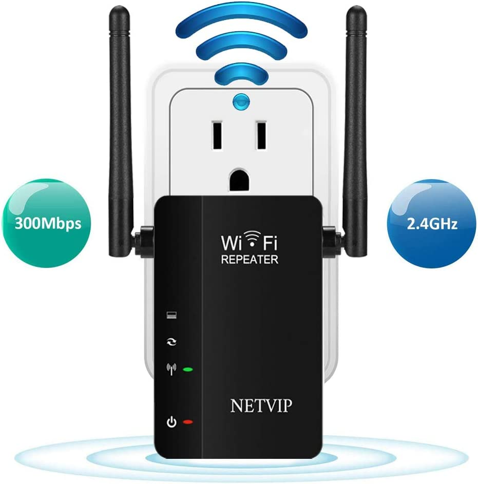 NETVIP Upgraded WiFi Extender Wi-Fi Internet Signal Booster for Home Wireless Long Range Repeater 300Mbps 2.4GHz WiFi Blast Amplifier with High Gain Dual Antenna & Wall Plug, Works with Any Router