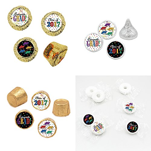 Class-of-2017-Graduation-Party-Favor-Stickers-Caps-Stars-and-Confetti-Set-of-324