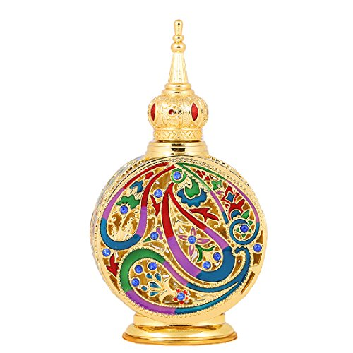 Bottle Elegant Perfume (H&D Vintage 18ml Empty Refillable Egyptian Style Enameled Metal and Glass Perfume Bottle)