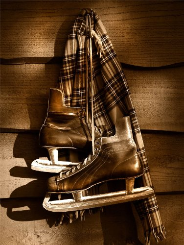 12 X 16 INCH / 30 X 40 CMS OLD ICE HOCKEY SKATES SPORT SEPIA PHOTO FINE ART PRINT POSTER HOME DECOR PICTURE BMP159B