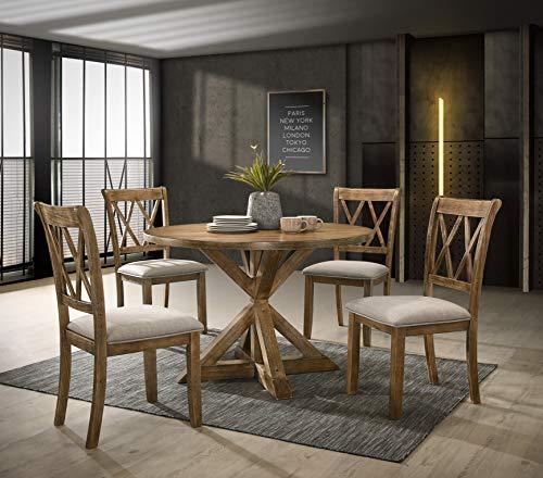 (Roundhill Furniture D303 Windvale Cross-Buck Wood 5-Piece Dining Set, Brown )