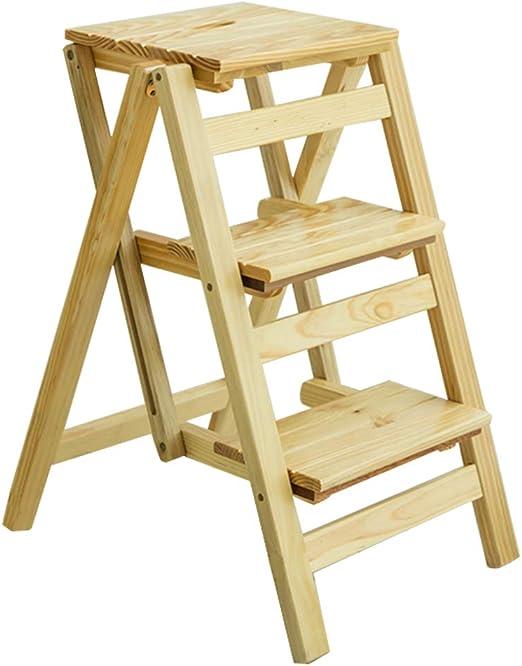 Escalera de Madera de 3 Pasos Sillas Silla Asiento | Escalera de Tijera de Madera Plegable multifunción | Banco de Zapatos portátil Estante de la Flor | para Cocina/Oficina/Biblioteca: Amazon.es: Hogar