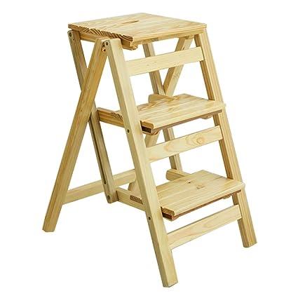 Super Amazon Com Xsj Stepstools 3 Steps Wooden Ladder Stool Chair Ibusinesslaw Wood Chair Design Ideas Ibusinesslaworg