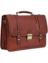 Vintage Full Grains Italian Leather Briefcase for Men Lock Lawyer Attache Case 14 Inch Laptop Messenger Bag Tote Shoulder Business Bag