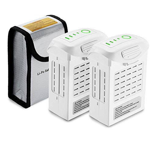 Powerextra 2-Pack Phantom 4 Series (15.2V 5350 mAh) LiPo Intelligent Flight Battery + 2-Pack Battery Safe Bag Replacement for DJI Phantom 4 Series Drones
