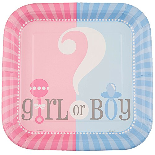 [Square Gender Reveal Dinner Plates, 8ct] (Quick Halloween Costume Ideas For Boys)