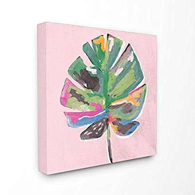 Stupell Industries Painted Palm Leaf Pink Canvas Wall Art, 30 x 30, Multi-Color