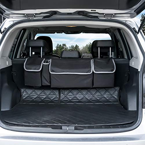 Backseat Trunk Organizer, Seat Back Storage to Keep Car Trunk Neat, Car Trunk Organizer for SUV Gives You a Big Space Back Seat Trunk, Car Cargo Organizer Frees up Your Trunk Floor.