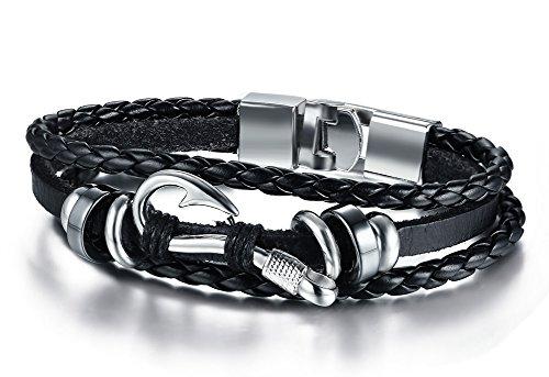 Hematite Fish (MP Men's Braided Leather Fish Hook Nautical Wrap Bracelet Multi Layers Hematite Wristband Black,21cm)