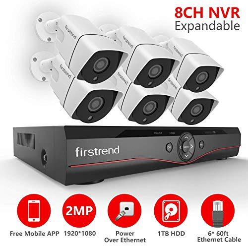 [Expandable] Firstrend 8CH POE Camera System with 6X 1080P HD Security Camera, Plug and Play Home Security Camera System with Pre-Installed 1TB Hard Drive, Free APP and Night Vision -