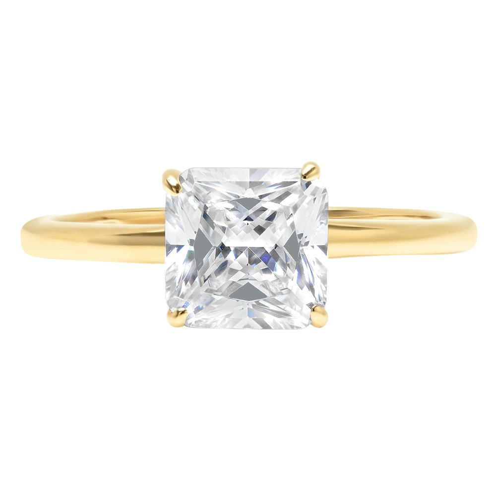 2ct Asscher Brilliant Cut Classic Solitaire Designer Wedding Bridal Statement Anniversary Engagement Promise Ring Solid 14k Yellow Gold, 4.25