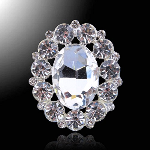 Brass Silver Tone Rhinestone Crystal Brooch DIY Pin Glue-on Jewelry Garment Crafts Buttons (pack of 10pcs) (SILVER TONE)