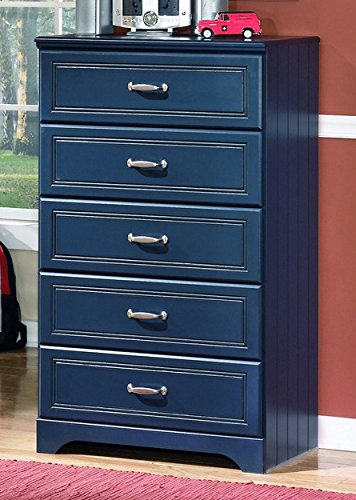 Ashley Furniture Signature Design - Lulu Chest of Drawers - 5 Drawers - Casual Styling with Crisp Finish - Blue (Furniture Bedroom Blue)