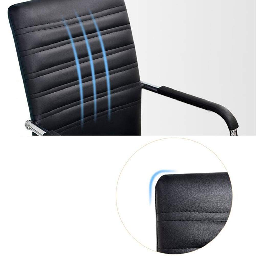 WYYY stolar kontorsstol student stol rosett form företagsstol PU-säte baksida stöd skrivbordsstol kontorsmaterial hållbar stark (färg: svart) Svart