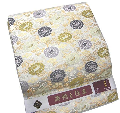 負ラッチ膨らみ西陣織 正絹名古屋帯 唐織花柄 全通 仕立上がり なごや帯