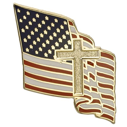 American Flag with Christian Cross One Inch Lapel Pin (Cross Pins)
