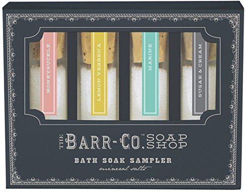 Barr-Co Bath Soak Sampler. Includes One Ounce of Honeysuckle, Marine, Lemon Verbena, and Sugar & Cream