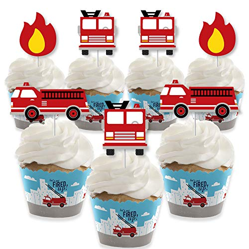Fire Truck Cupcakes (Big Dot of Happiness Fired Up Fire Truck - Cupcake Decoration - Firefighter Firetruck Baby Shower or Birthday Party Cupcake Wrappers and Treat Picks Kit - Set of)