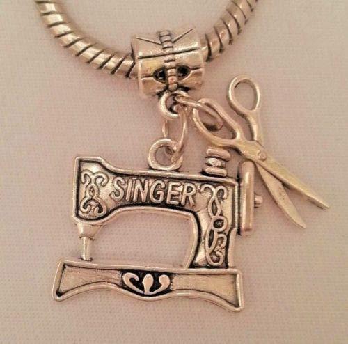 Pendant Jewelry Making Tailor Sewing Machine Needle Thread Dangle Charm Pendant f Euro ()