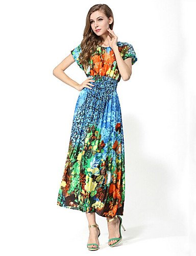 PU&PU Robe Aux femmes Swing Bohème / Street Chic,Imprimé Col Arrondi Maxi Polyester , blue-one-size , blue-one-size