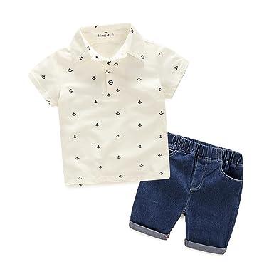 1d7047d64873 Amazon.com  Kimocat Boy Jeans Set Cotton Short Sleeve T-Shirt +Denim ...