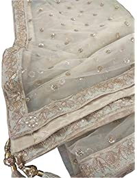 Designer India Sequence net Dupatta and Four Side Beautiful lace with Latkan for Lehenga Salwar Kameez for Women
