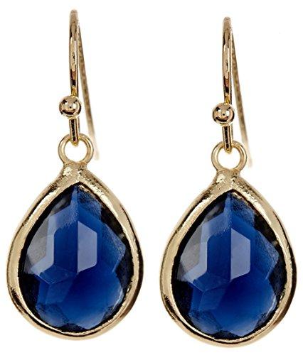 London Blue Quartz Gold Clad Pear Shaped Wholesale Gemstone Fashion Jewelry Drop (Blue Quartz Earrings)