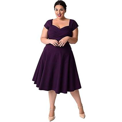 5a2fbd694a2 Amazon.com  Hot Sale Women Ladies Sexy Dress Usstore V-Neck Plus Size Short  Sleeve Formal Cocktail Dress Cloth (Purple