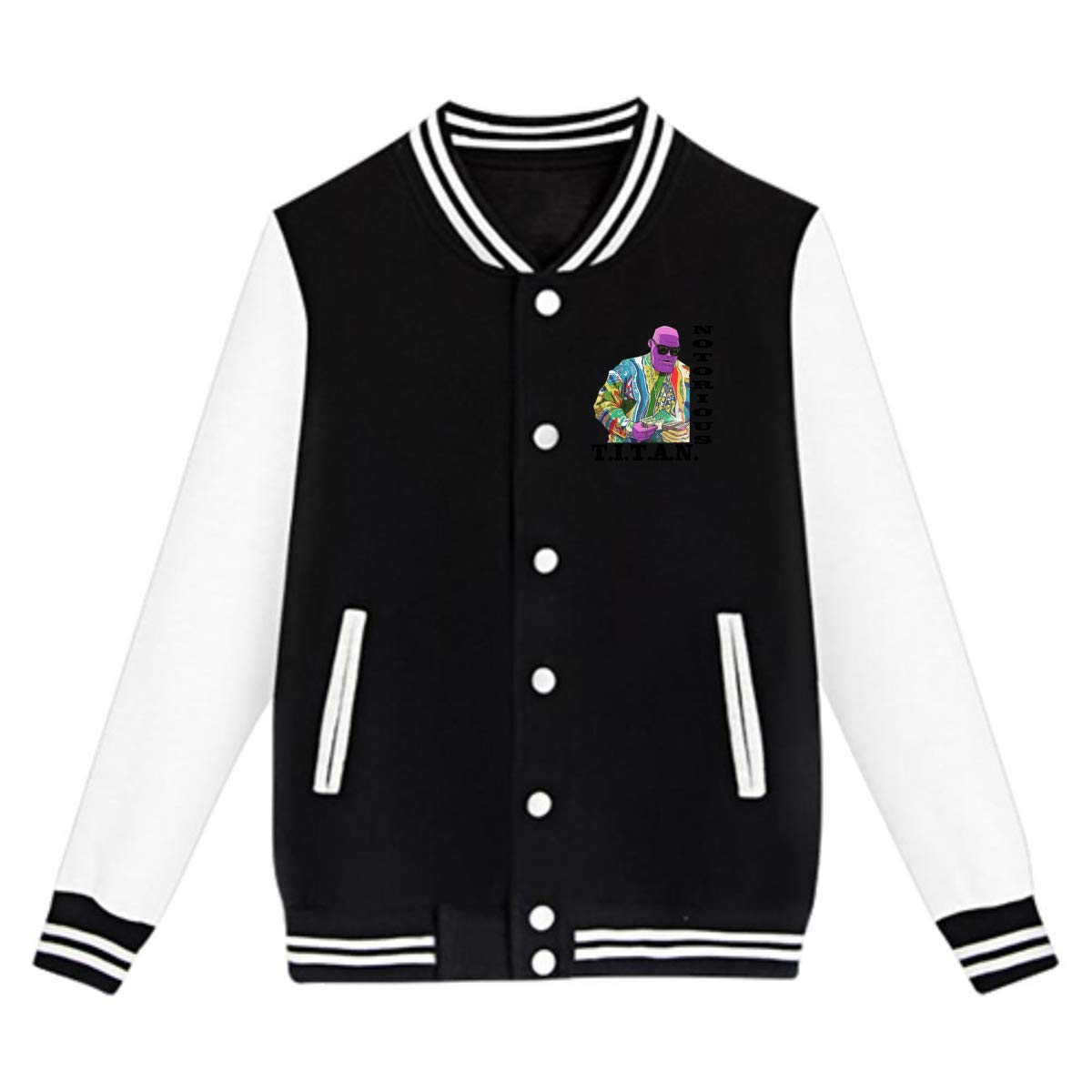 EengFang Unisex Youth Notorious Titan Basic Baseball Uniform Jacket Black