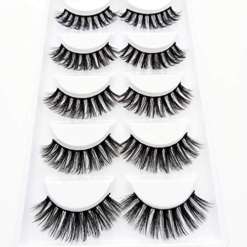 3D Wispies False Eyelashes Dramatic Lashes Bulk Extensions With Volume for Girl/Men Makeup Handmade Soft Eyelash,5PACK