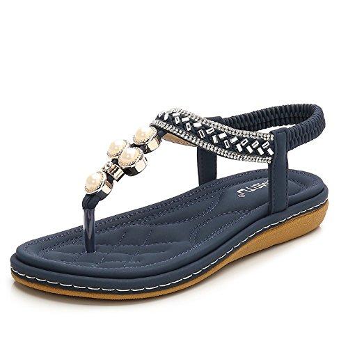 Sandalias Planas De del Verano del De Las Playa Zapatillas Rhinestone Bohemia del Pie T Mujeres Dedo Correa Transpirables La Sandalias De Azul del Zapatos Sandalias De La dRnRwcXyqH