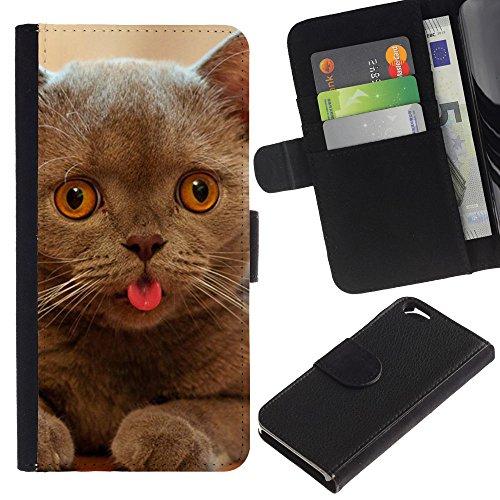 EuroCase - Apple Iphone 6 4.7 - cat kitten chartreux British shorthair - Cuir PU Coverture Shell Armure Coque Coq Cas Etui Housse Case Cover