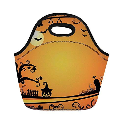Vintage Halloween Durable Lunch Bag,Halloween Themed Image Eerie Atmosphere Gravestone Evil Pumpkin Moon Decorative for School Office,11.0