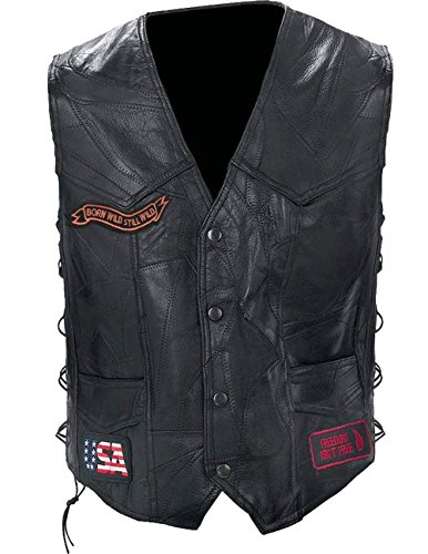 Biker Buffalo Genuine Leather Vest (Diamond Plate Rock Design Genuine Buffalo Leather Biker Black Vest GFVBIKE3X)