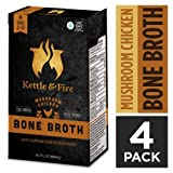 Kettle and Fire Mushroom Chicken Bone Broth Soup, Pack of 4, Keto Diet, Paleo Friendly, Whole 30 Approved, Gluten Free, with Collagen, 7g of protein, 16.2 fl oz For Sale