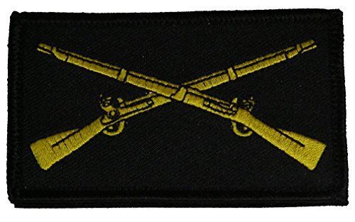 (U.S. ARMY INFANTRY CROSSED RIFLES 2 PIECE PATCH - Subdued Hook and Loop - Veteran Owned Business.)