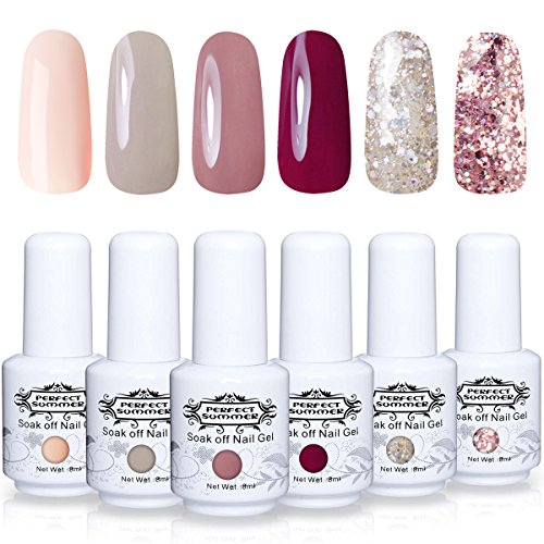 Perfect Summer Gel Nail Polsih - 6 Colors Gel Varnish Set Soak Off UV LED Manicure Nail Starter Kits 8ML #13