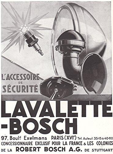 1931 Print Ad Bosch Auto Car Accessories Lavalette Spark Plug Horn Headlamp