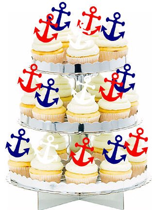 Nautical Anchor Birthday Party Cake Toppers for Cakes and Cupcakes/Food Decoration 12 count